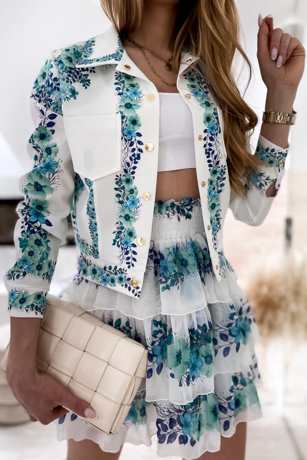 Niebieski kwiatowy komplet katany i spódniczki Florencia 6
