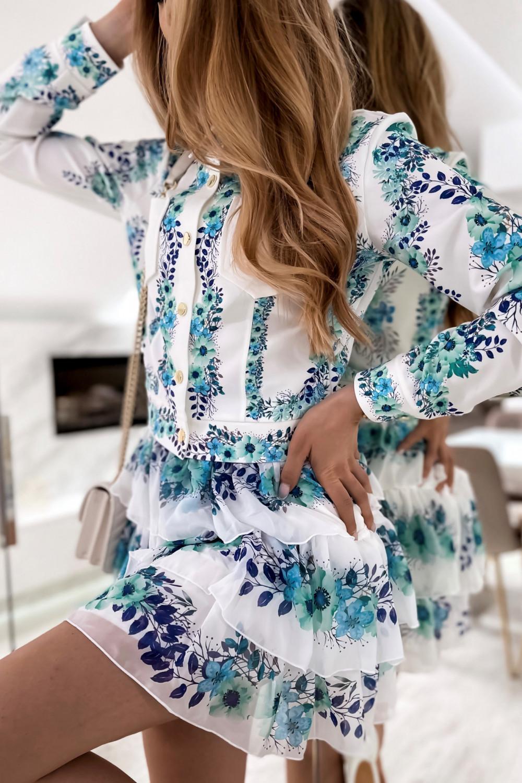 Niebieski kwiatowy komplet katany i spódniczki Florencia 5