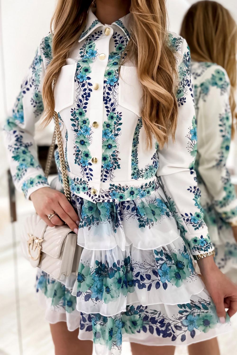 Niebieski kwiatowy komplet katany i spódniczki Florencia 8