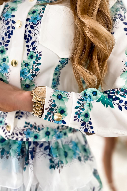 Niebieski kwiatowy komplet katany i spódniczki Florencia 9