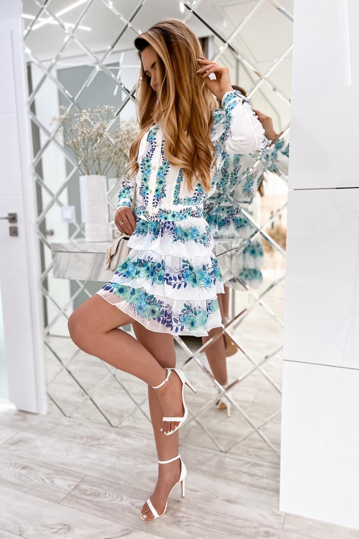 Niebieski kwiatowy komplet katany i spódniczki Florencia 2