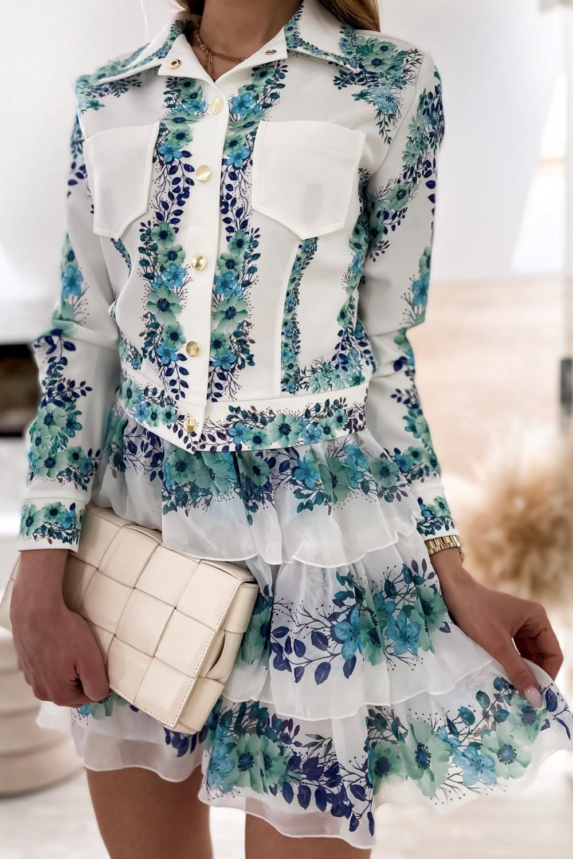 Niebieski kwiatowy komplet katany i spódniczki Florencia 7