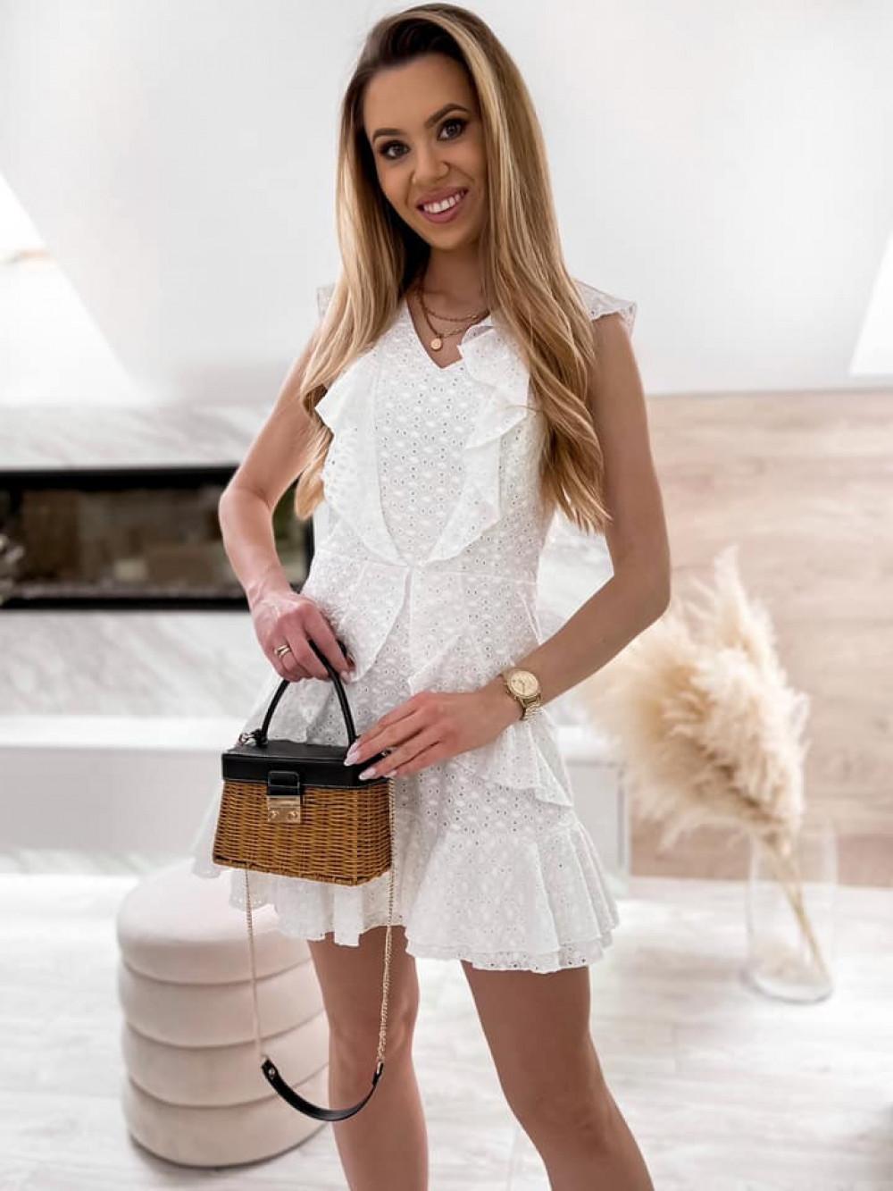 Biała bawełniana ażurowa sukienka z falbankami Emelina 1