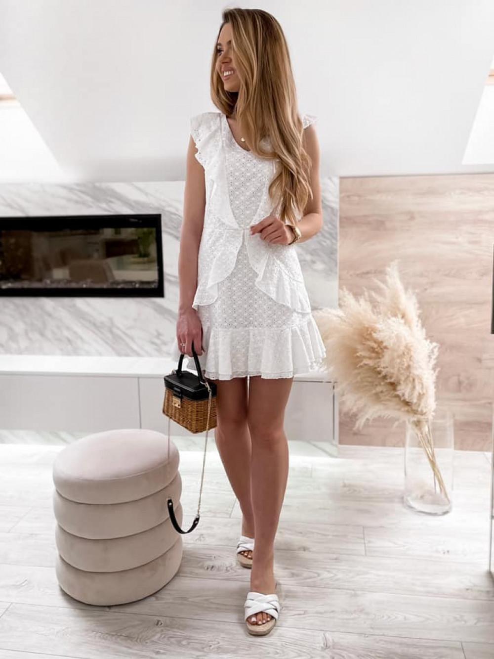Biała bawełniana ażurowa sukienka z falbankami Emelina 2