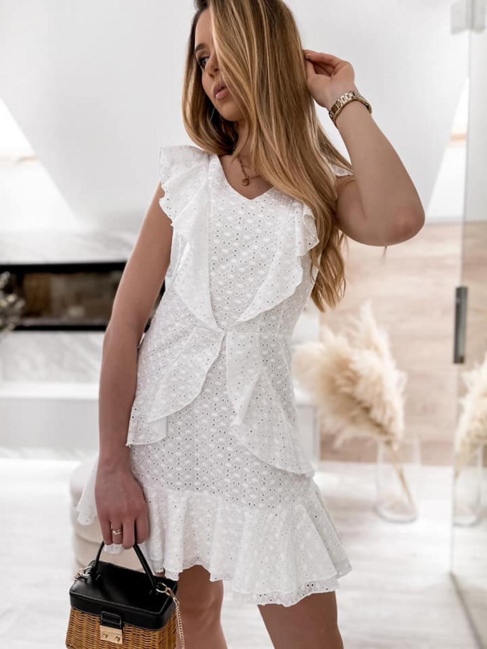 Biała bawełniana ażurowa sukienka z falbankami Emelina 4