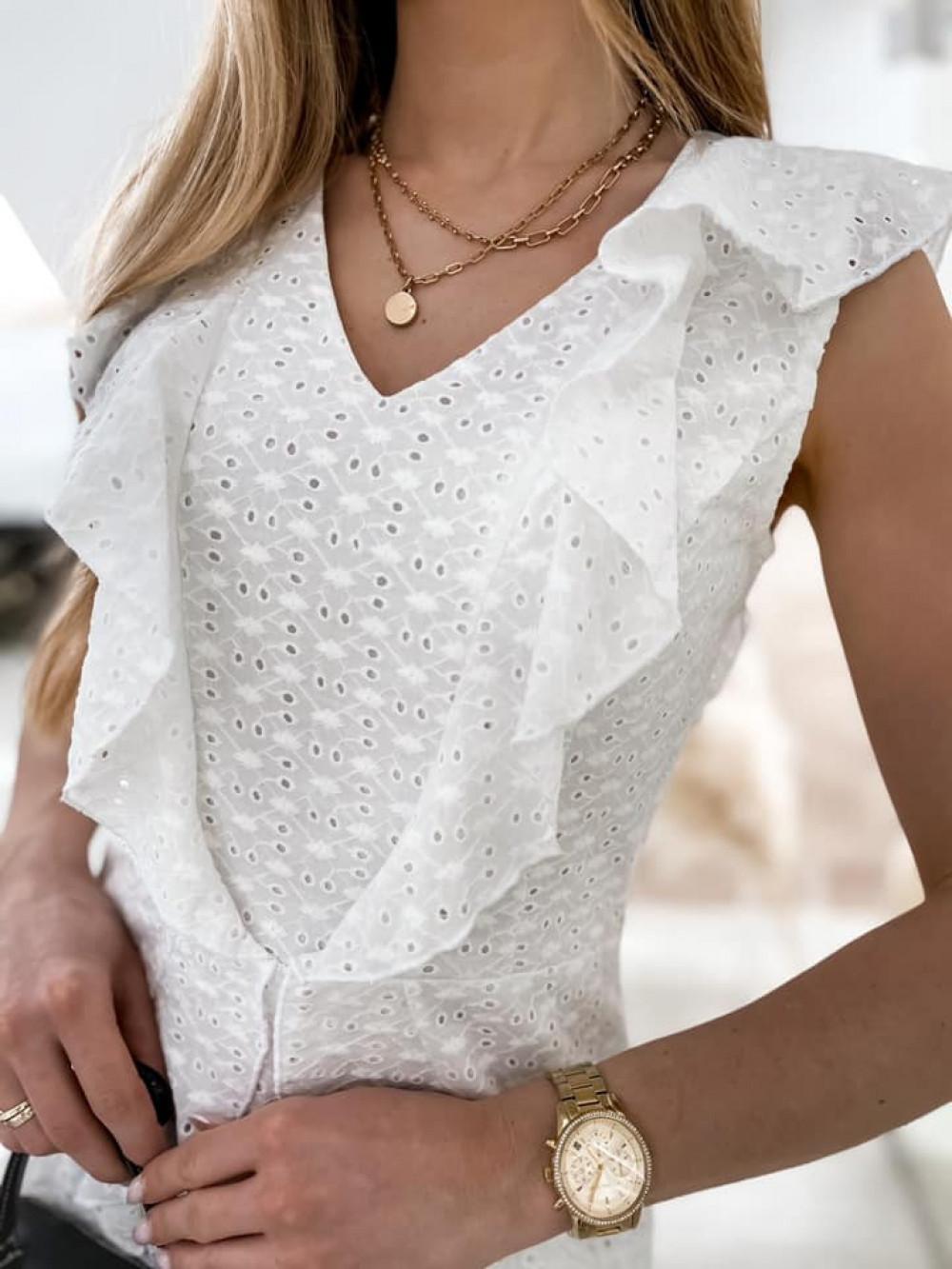 Biała bawełniana ażurowa sukienka z falbankami Emelina 6
