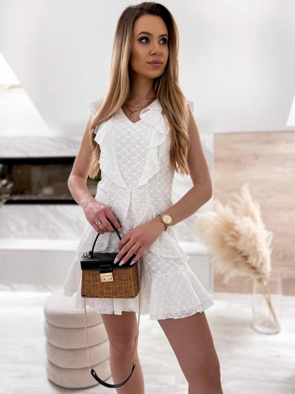 Biała bawełniana ażurowa sukienka z falbankami Emelina 3