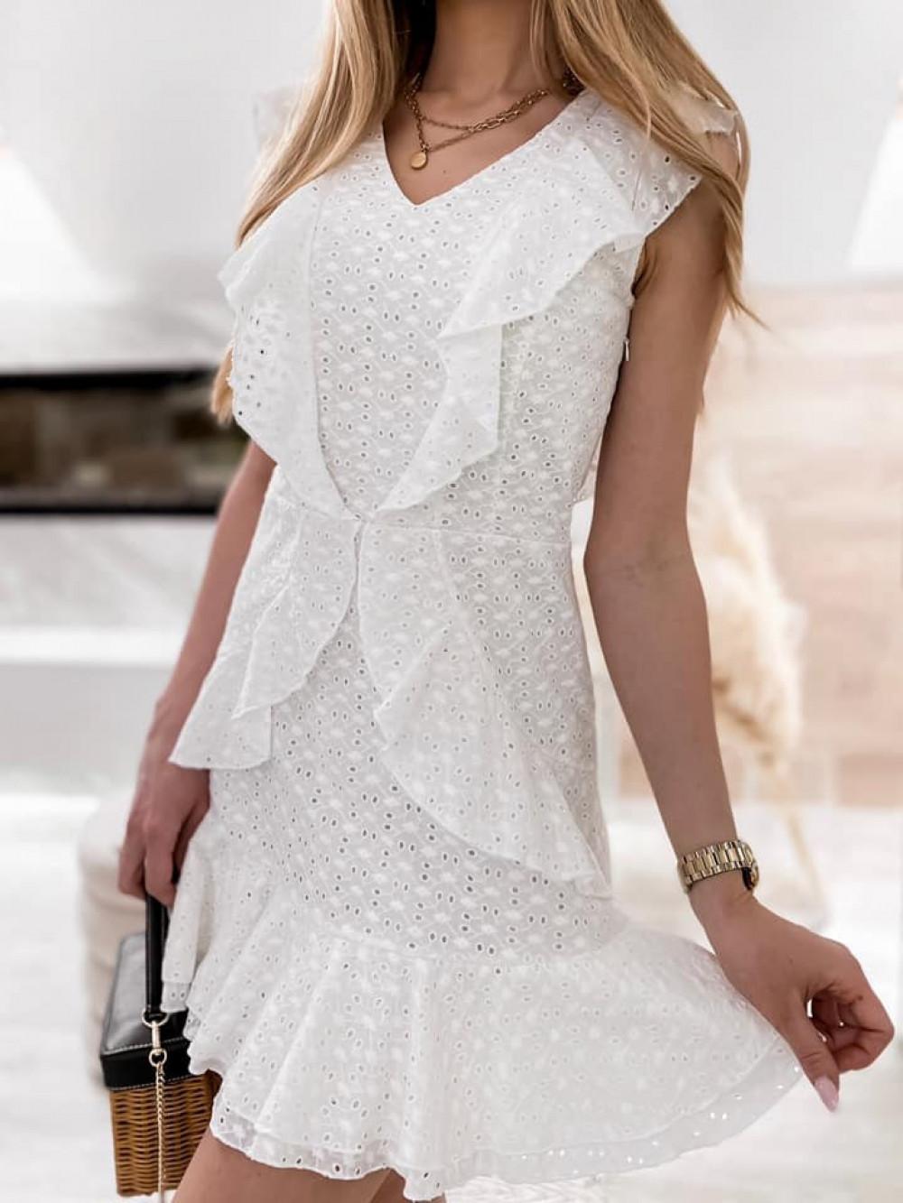 Biała bawełniana ażurowa sukienka z falbankami Emelina 5