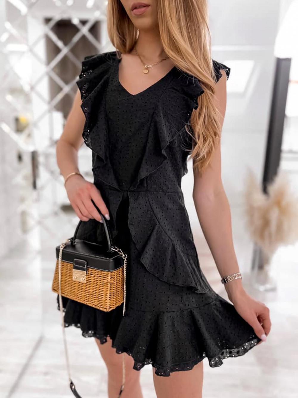 Czarna bawełniana ażurowa sukienka z falbankami Emelina 4