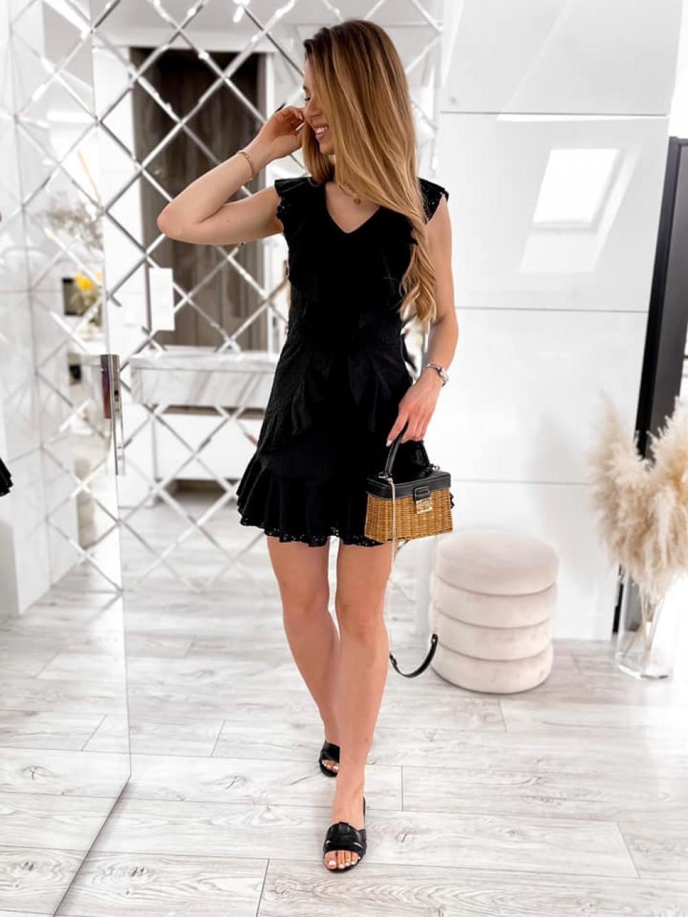 Czarna bawełniana ażurowa sukienka z falbankami Emelina 3