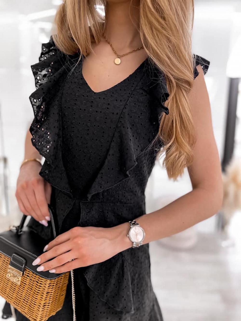 Czarna bawełniana ażurowa sukienka z falbankami Emelina 7