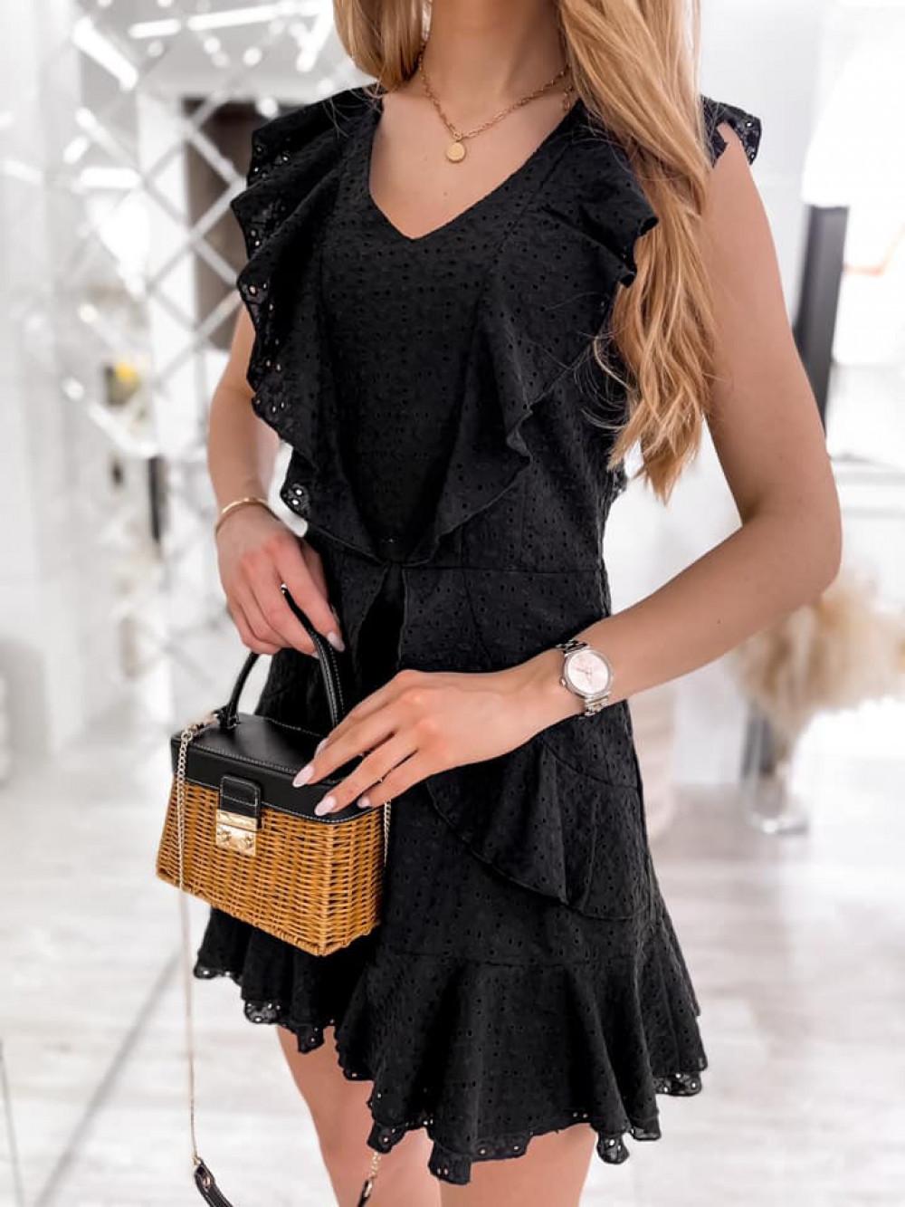 Czarna bawełniana ażurowa sukienka z falbankami Emelina 6