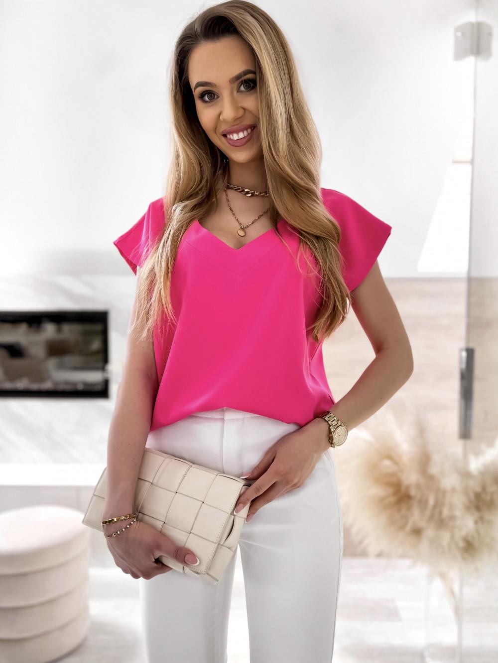 Różowa elegancka bluzka V-Neck Clara 1