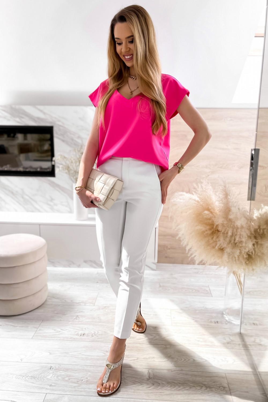 Różowa elegancka bluzka V-Neck Clara 2