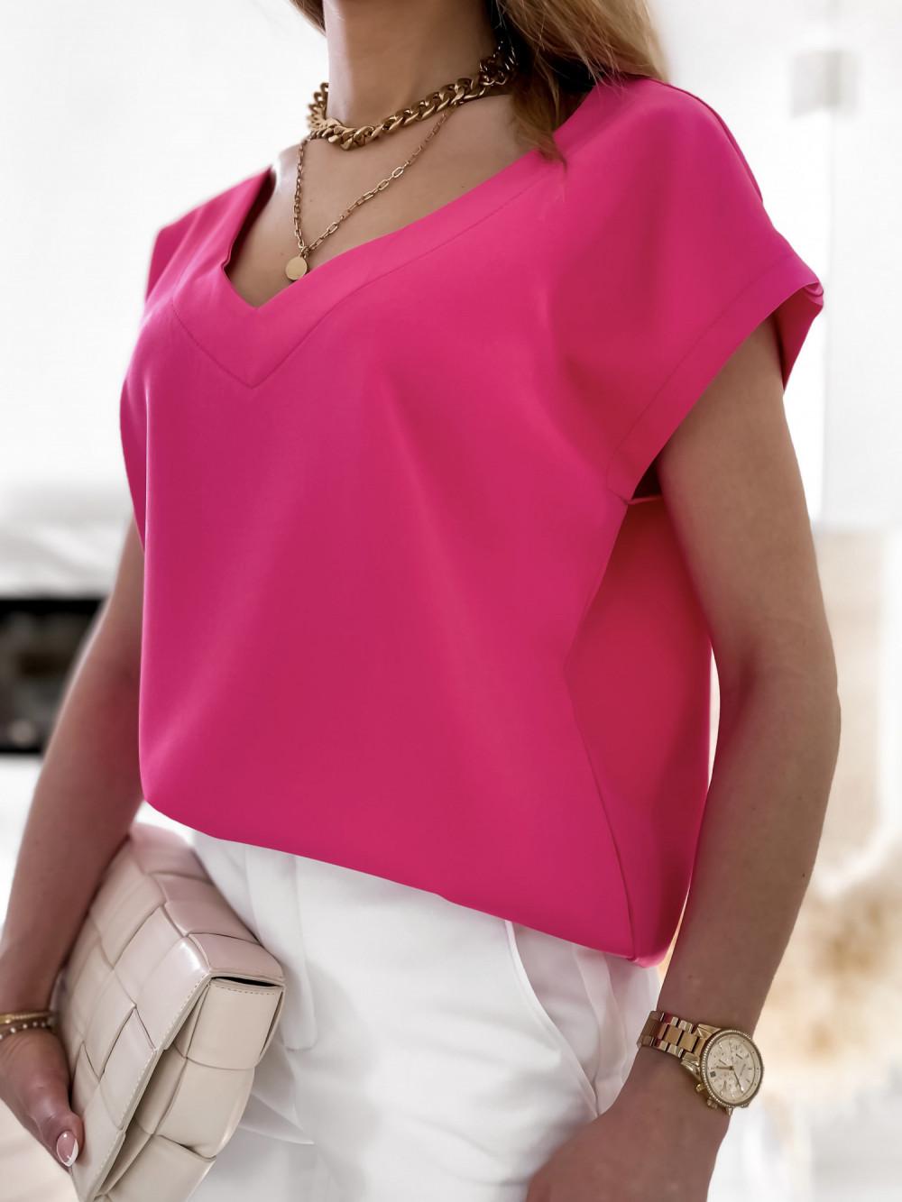 Różowa elegancka bluzka V-Neck Clara 4