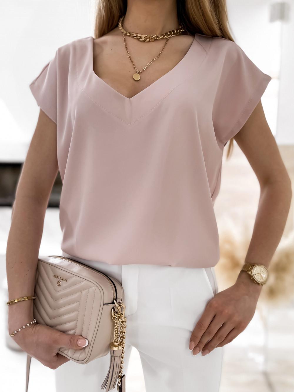 Pudrowo różowa elegancka bluzka V-Neck Clara 3