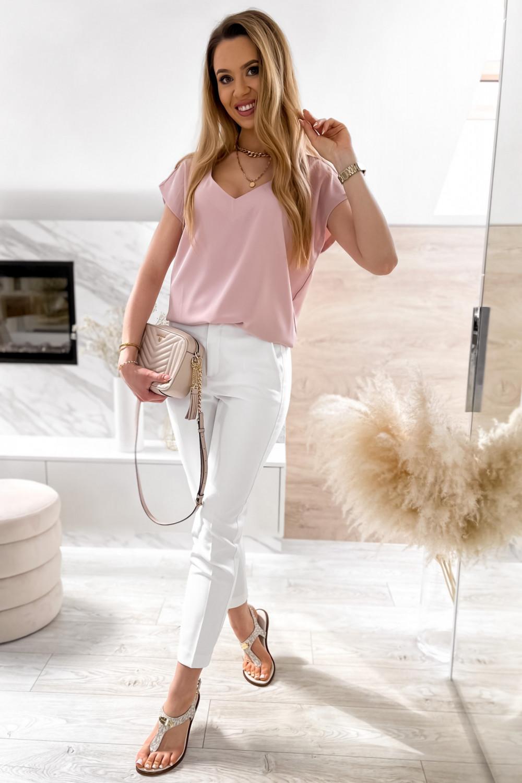 Pudrowo różowa elegancka bluzka V-Neck Clara 2
