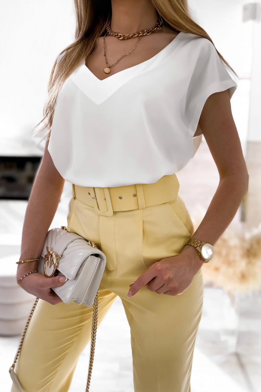 Biała elegancka bluzka V-Neck Clara 4