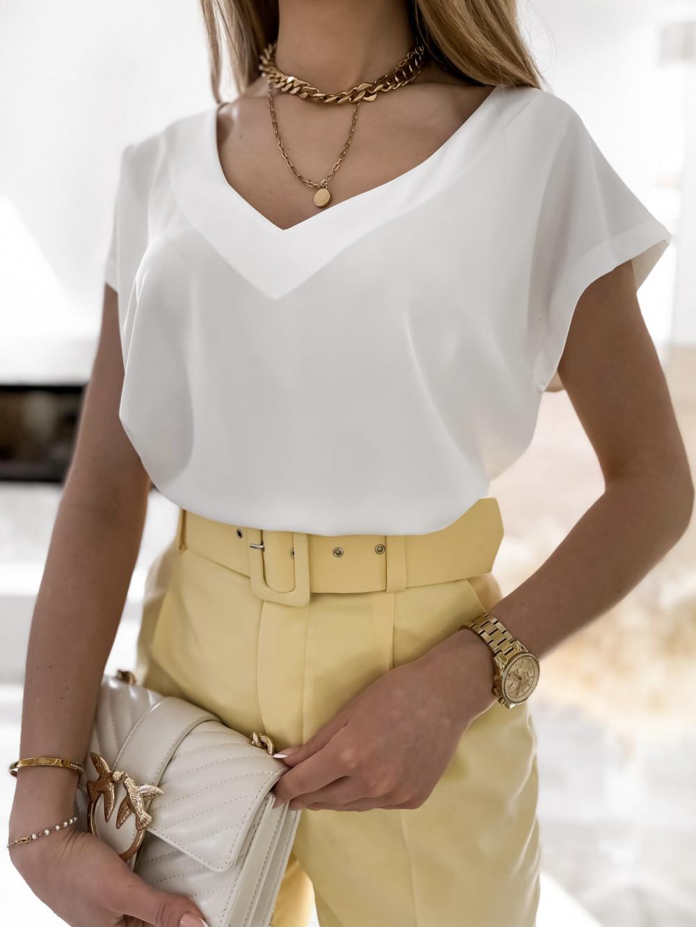 Biała elegancka bluzka V-Neck Clara 3