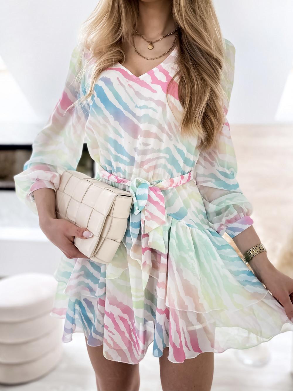 Pastelowa panterkowa sukienka szyfonowa rozkloszowana Virgo 4