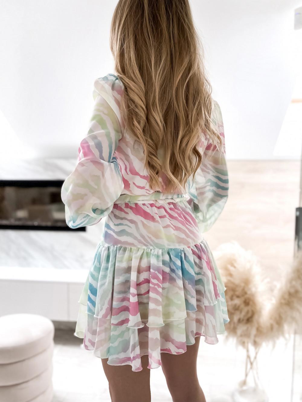 Pastelowa panterkowa sukienka szyfonowa rozkloszowana Virgo 5