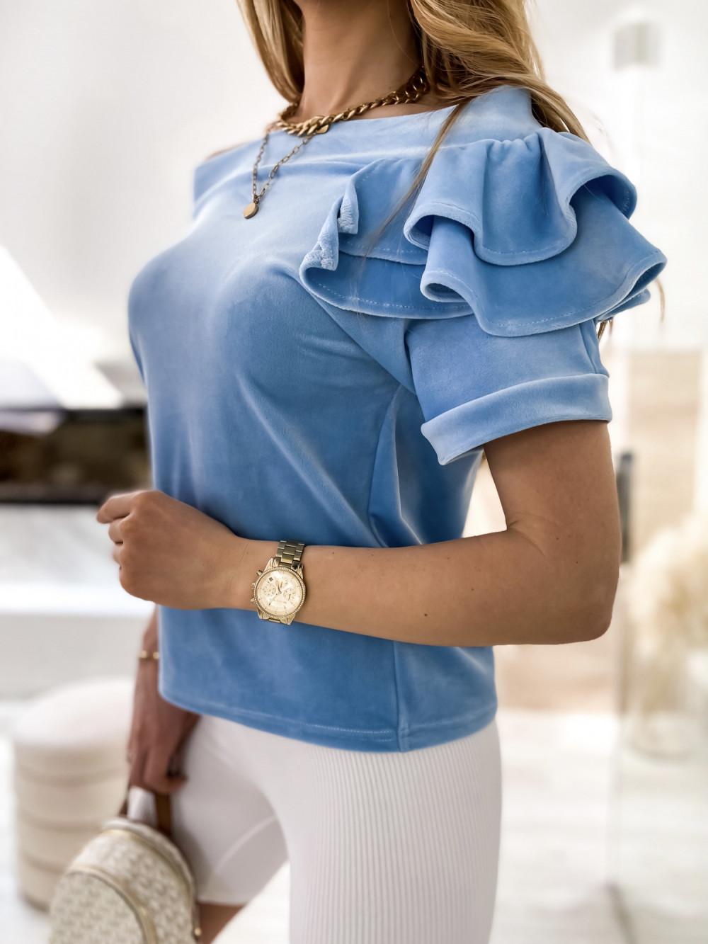 Jasnoniebieska welurowa bluzka z falbankami i krótkim rękawem Wendy 7
