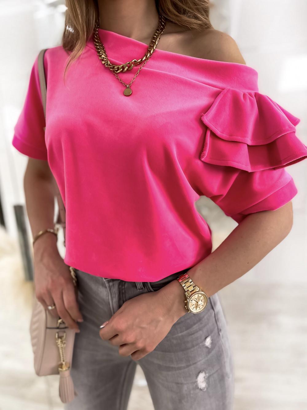 Fuksjowa welurowa bluzka z falbankami i krótkim rękawem Wendy 4