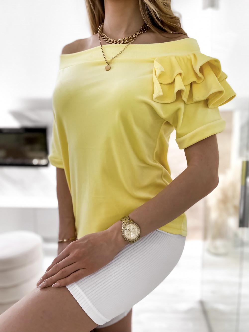 Żółta welurowa bluzka z falbankami i krótkim rękawem Wendy 5