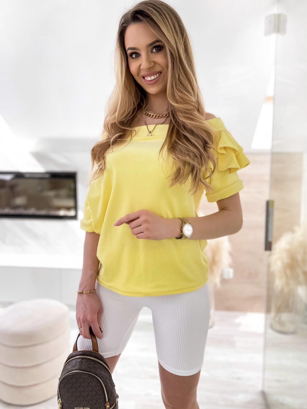 Żółta welurowa bluzka z falbankami i krótkim rękawem Wendy 1