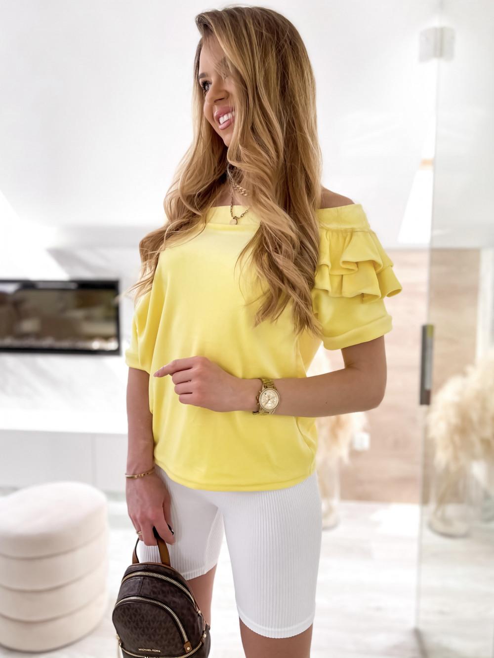Żółta welurowa bluzka z falbankami i krótkim rękawem Wendy 4