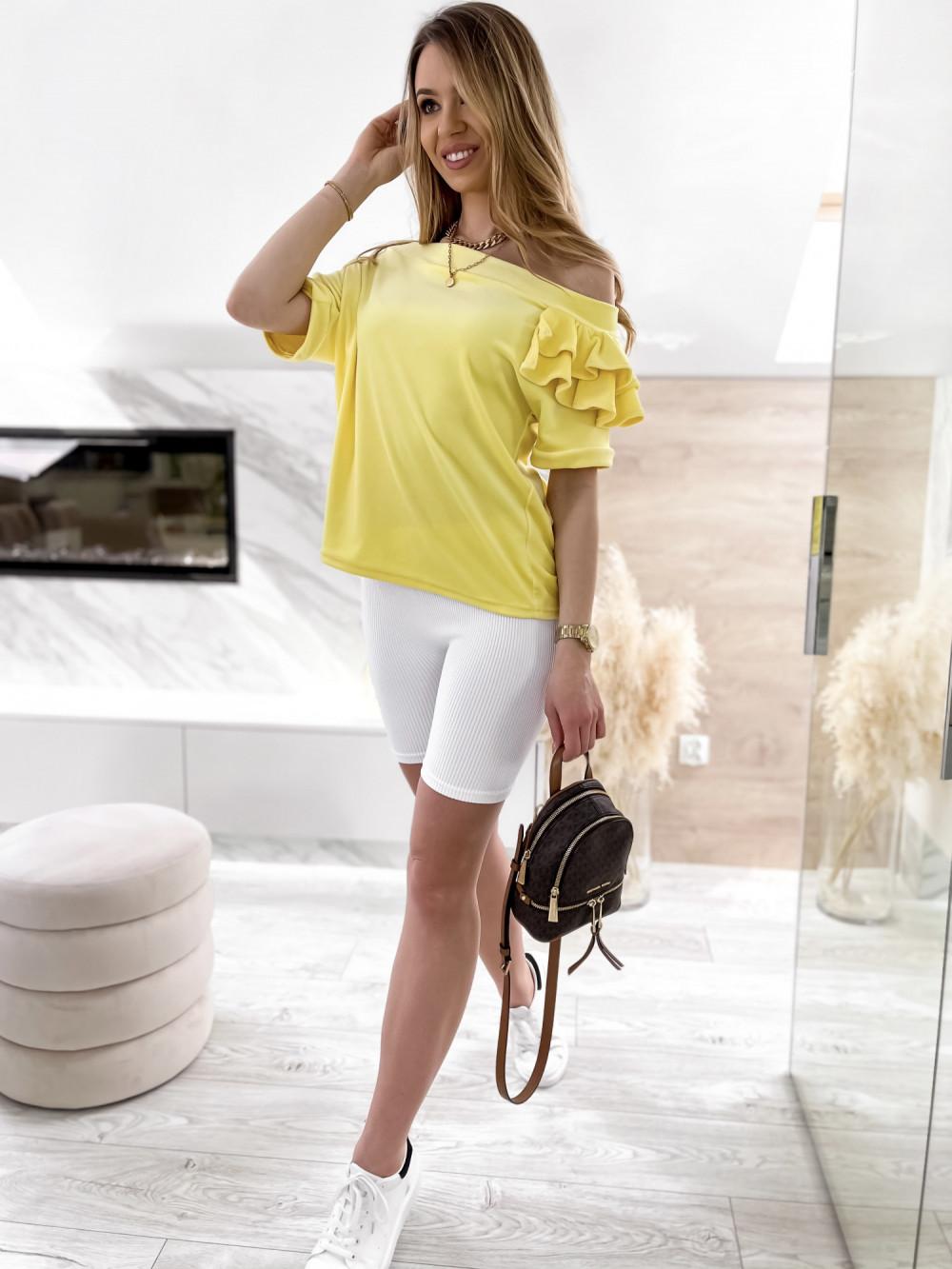 Żółta welurowa bluzka z falbankami i krótkim rękawem Wendy 2
