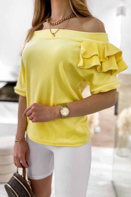 Żółta welurowa bluzka z falbankami i krótkim rękawem Wendy 3
