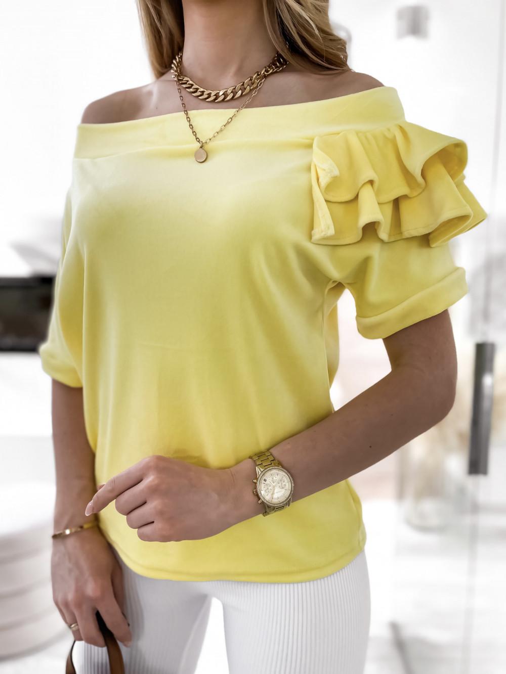 Żółta welurowa bluzka z falbankami i krótkim rękawem Wendy 6