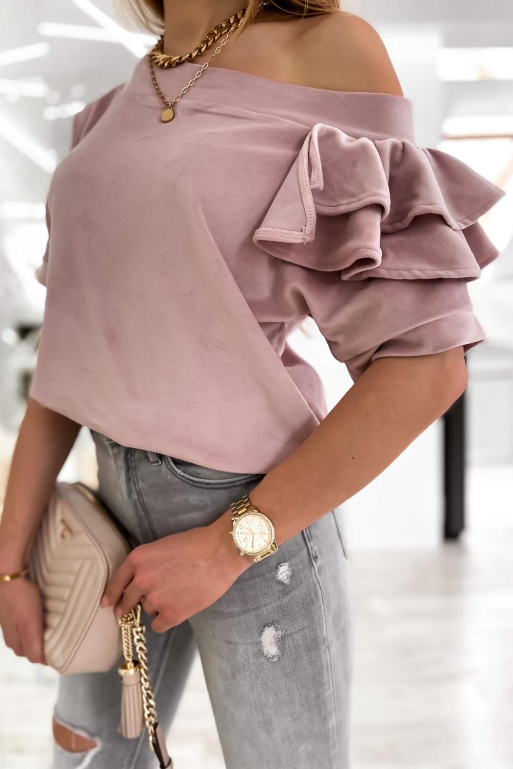 Brudnoróżowa welurowa bluzka z falbankami i krótkim rękawem Wendy 6