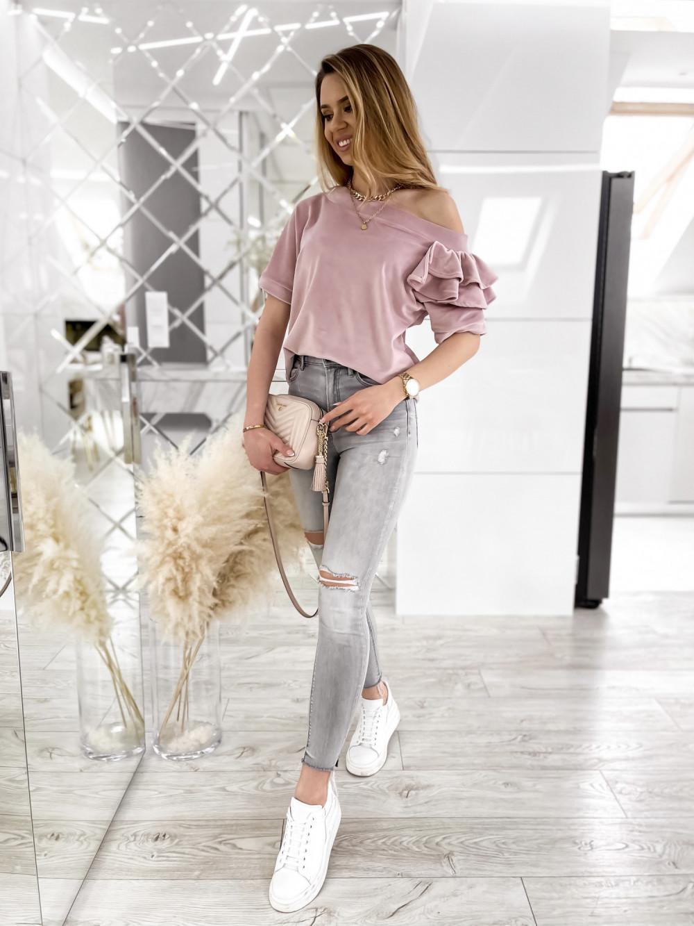 Brudnoróżowa welurowa bluzka z falbankami i krótkim rękawem Wendy 2
