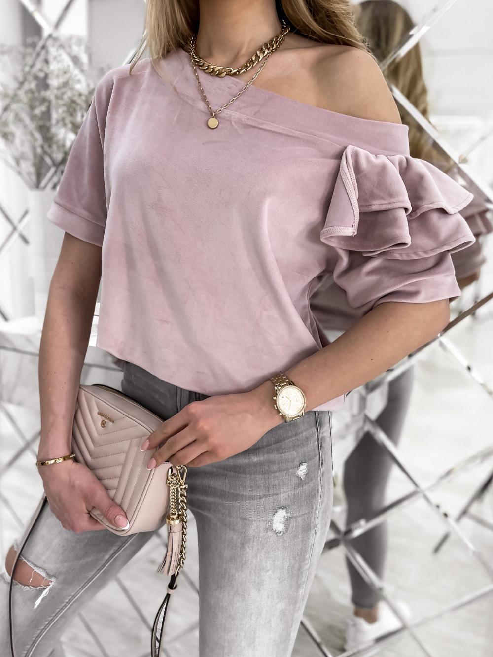 Brudnoróżowa welurowa bluzka z falbankami i krótkim rękawem Wendy 3