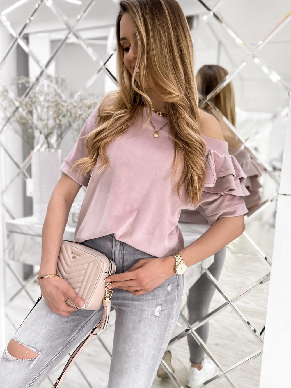 Brudnoróżowa welurowa bluzka z falbankami i krótkim rękawem Wendy 1