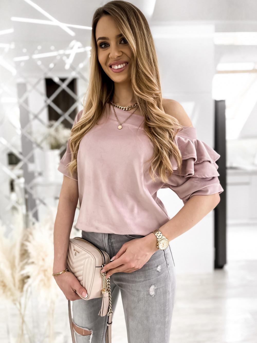 Brudnoróżowa welurowa bluzka z falbankami i krótkim rękawem Wendy 4