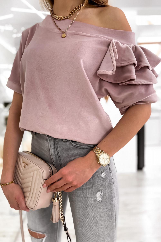 Brudnoróżowa welurowa bluzka z falbankami i krótkim rękawem Wendy 5