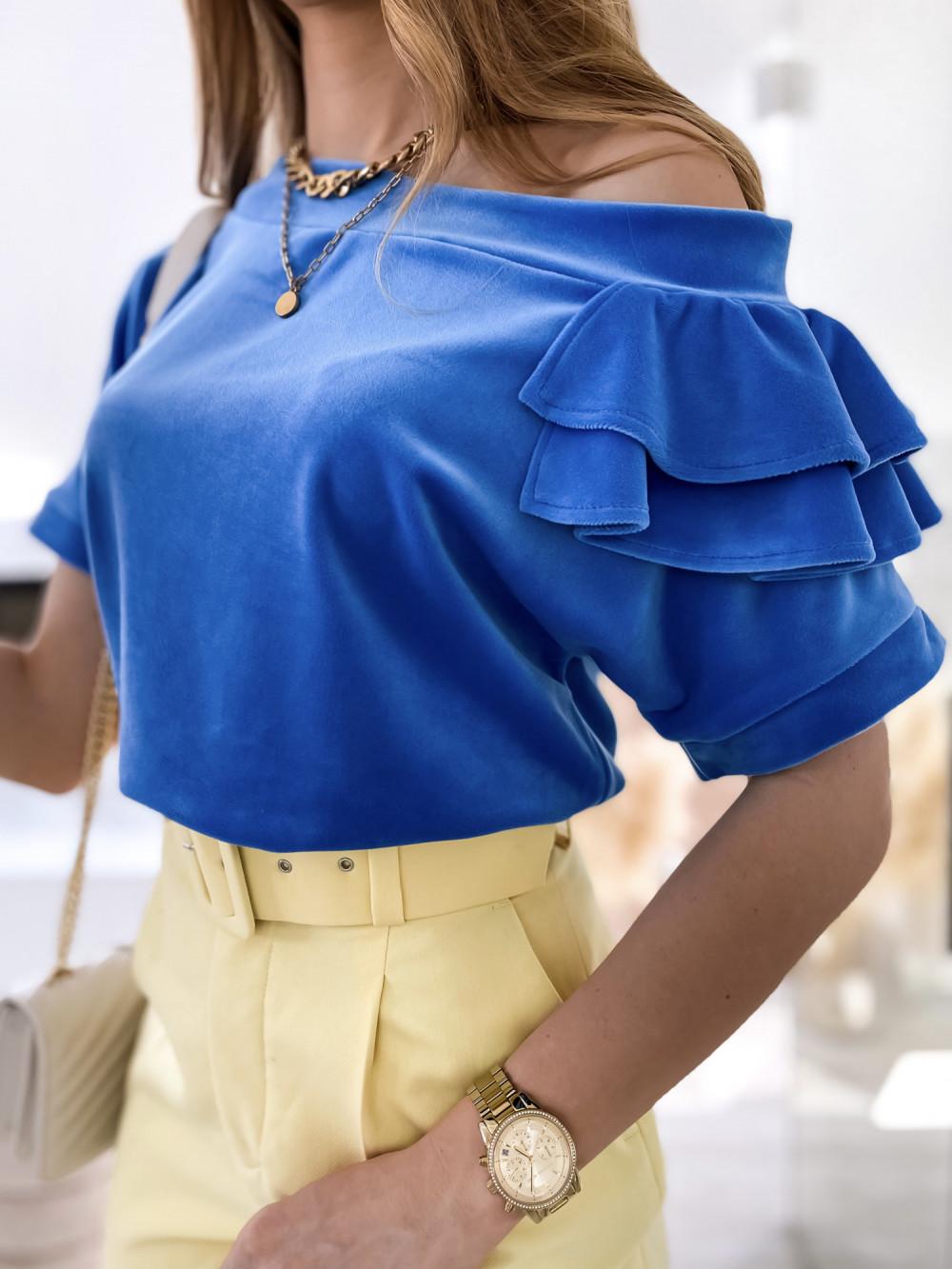 Niebieska welurowa bluzka z falbankami i krótkim rękawem Wendy 4