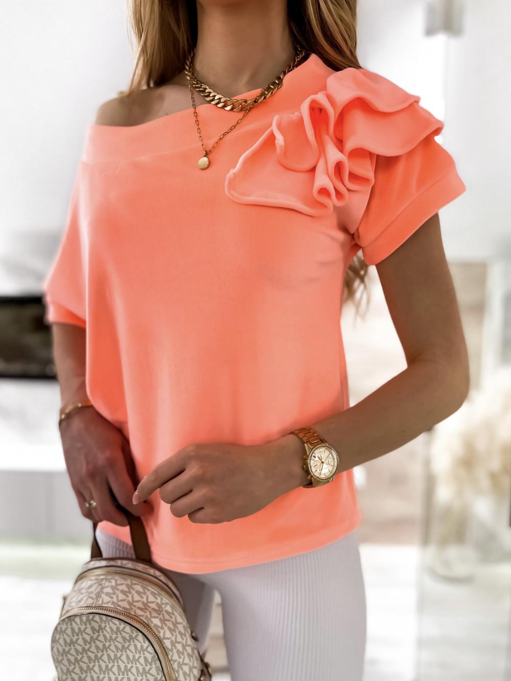 Pomarańczowa welurowa bluzka z falbankami i krótkim rękawem Wendy 6