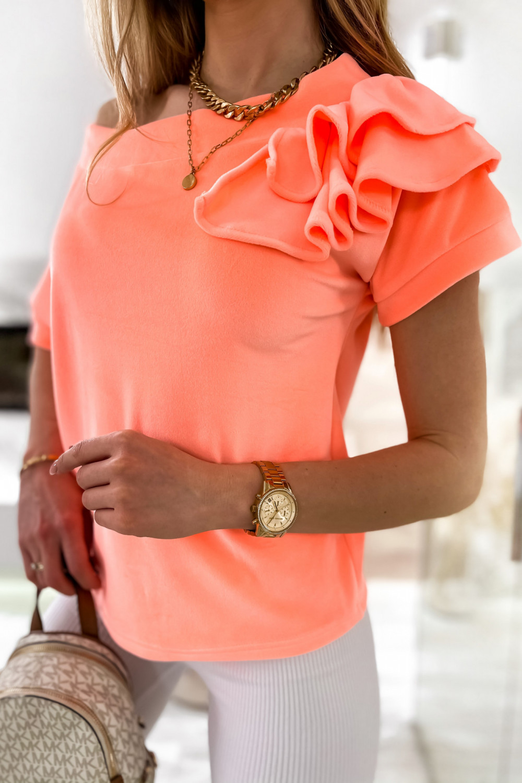 Pomarańczowa welurowa bluzka z falbankami i krótkim rękawem Wendy 5