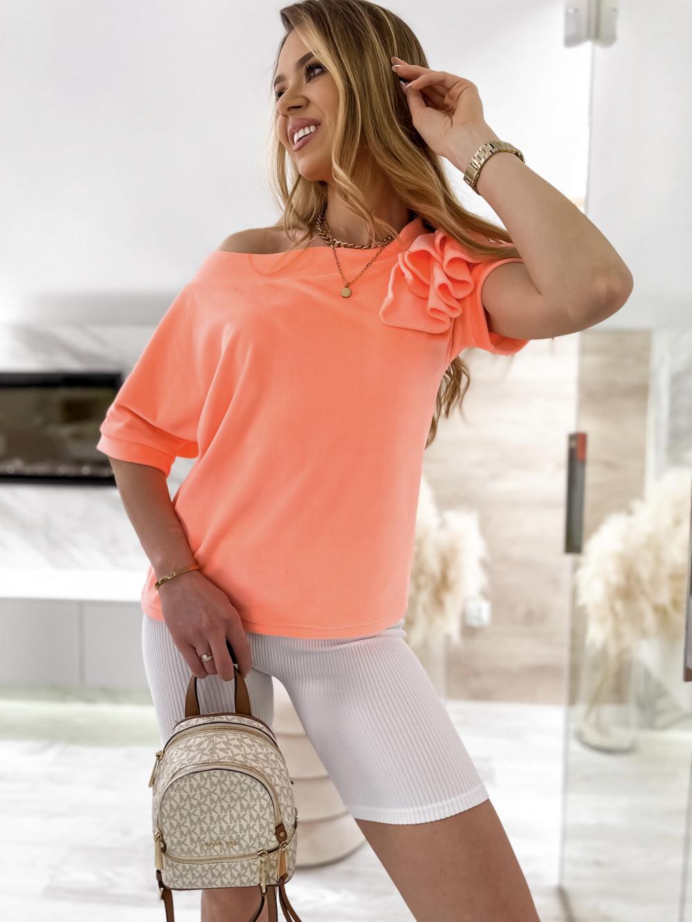 Pomarańczowa welurowa bluzka z falbankami i krótkim rękawem Wendy 4