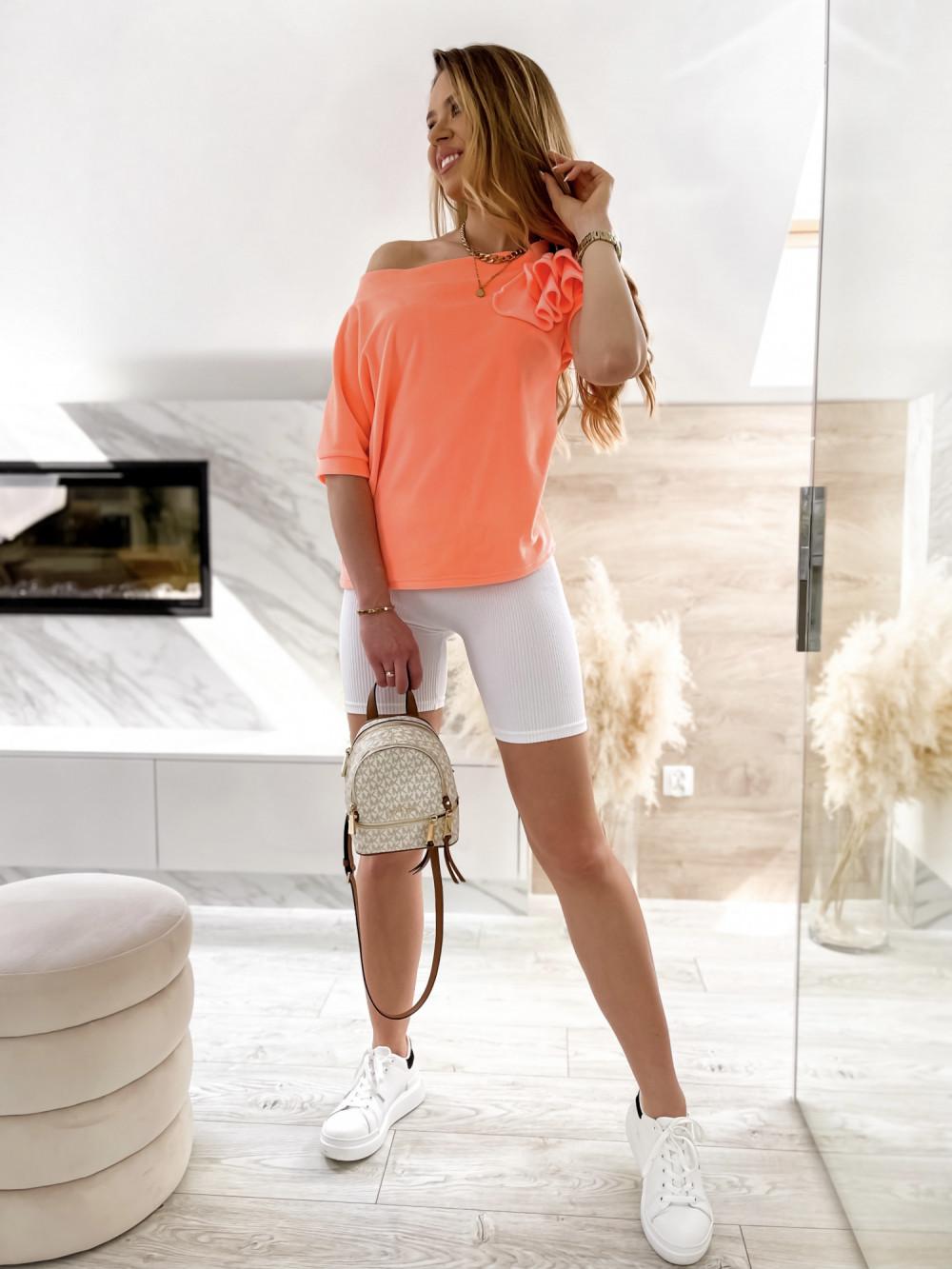 Pomarańczowa welurowa bluzka z falbankami i krótkim rękawem Wendy 3