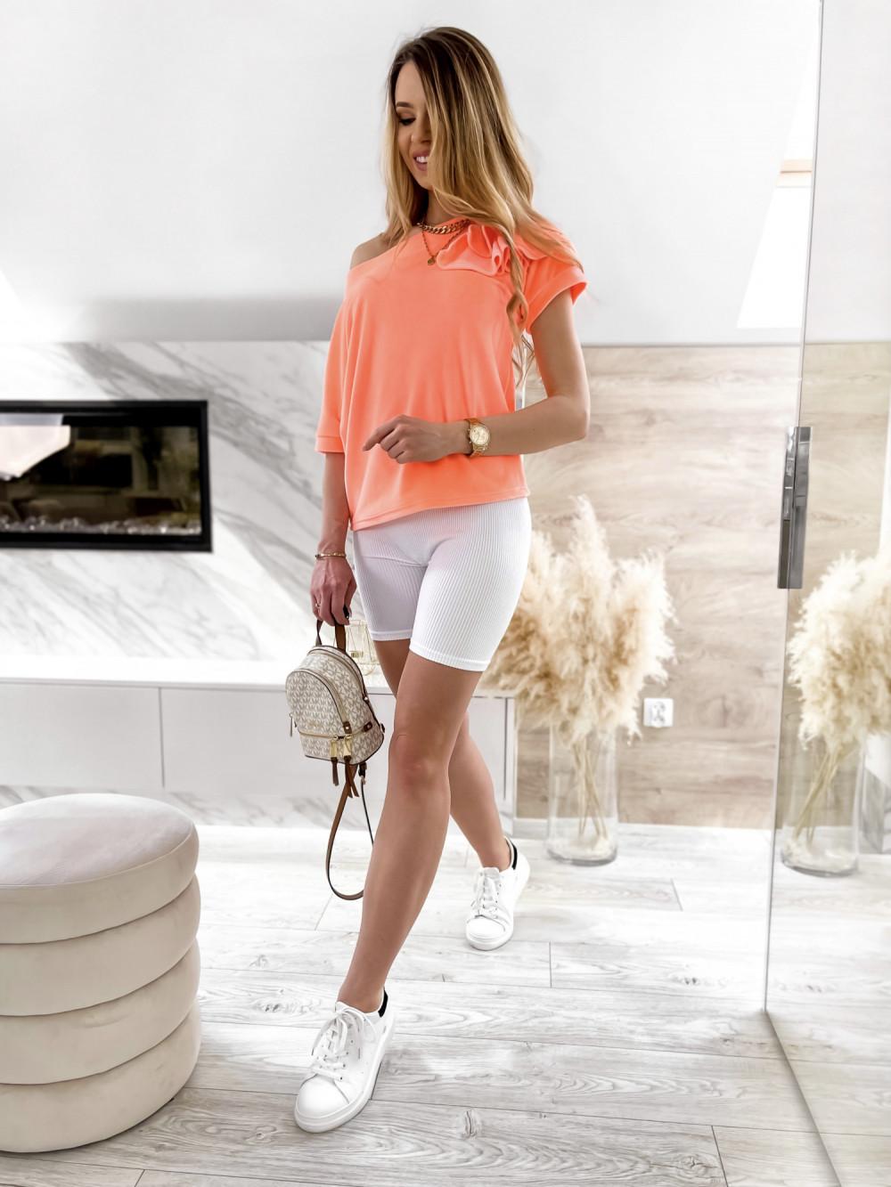 Pomarańczowa welurowa bluzka z falbankami i krótkim rękawem Wendy 2