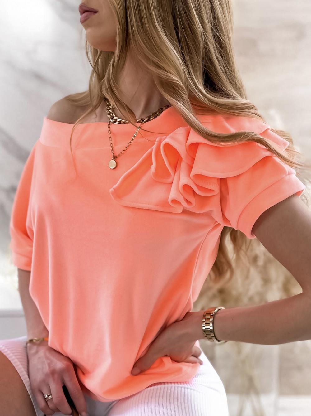 Pomarańczowa welurowa bluzka z falbankami i krótkim rękawem Wendy 1