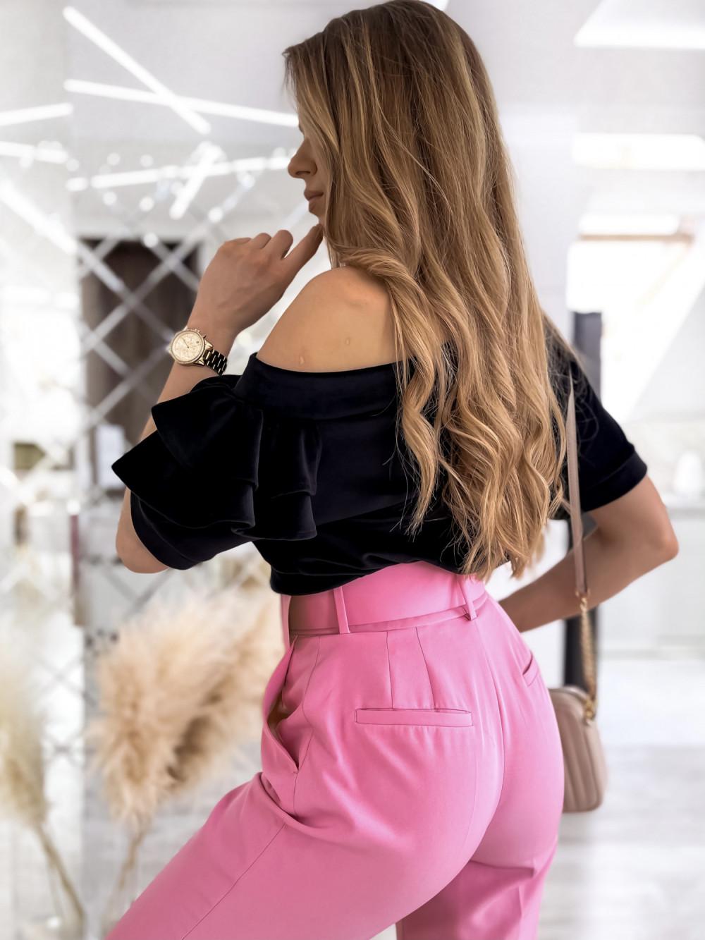 Czarna welurowa bluzka z falbankami i krótkim rękawem Wendy 3