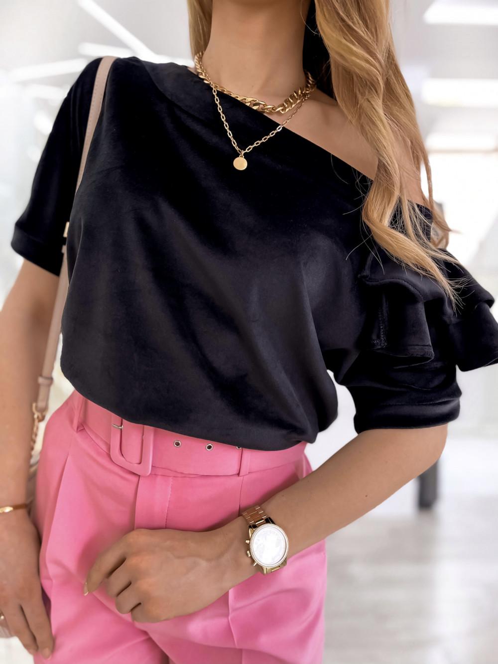 Czarna welurowa bluzka z falbankami i krótkim rękawem Wendy 4