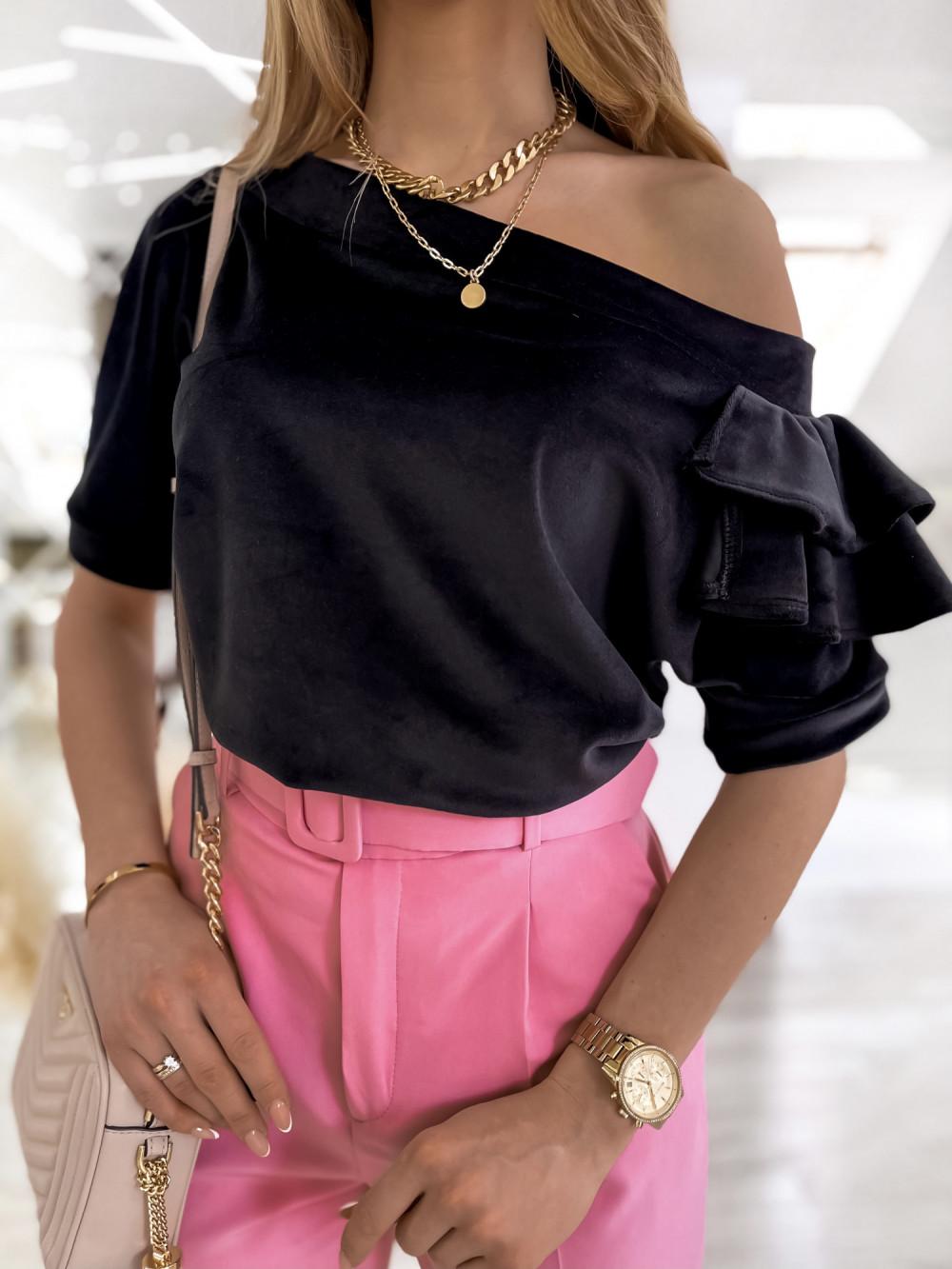 Czarna welurowa bluzka z falbankami i krótkim rękawem Wendy 2