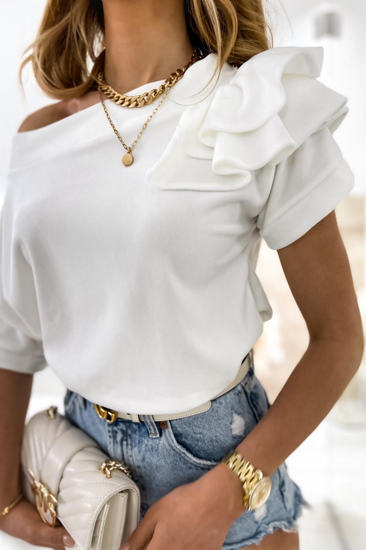 Biała welurowa bluzka z falbankami i krótkim rękawem Wendy 4